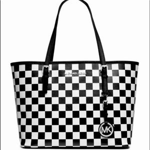 MK checkered tote 🖤 LARGE SIZE